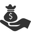 Icon of a hand holding a bag of money