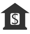 Icon of a building with a dollar sign