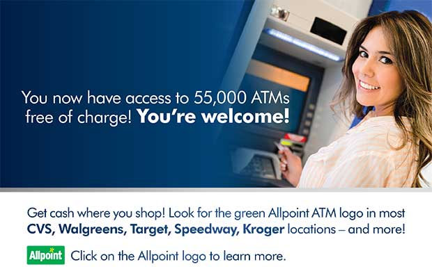 girl using one of the 55,000 allpoint atms with no fees!