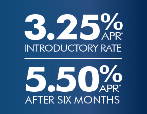 3.25% APR* introductory rate, 5.50% APR* after six months